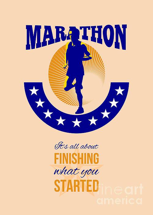 Marathon Runner Finishing Retro Poster Print by Aloysius Patrimonio