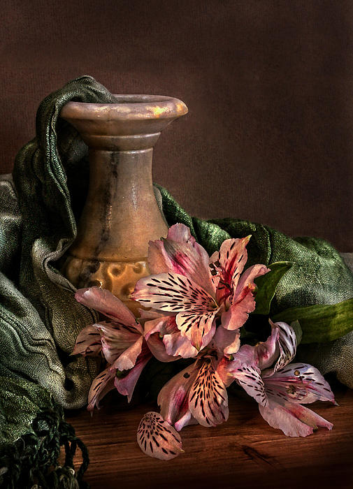 Marble Vase With Lilies Print by Hugo Bussen