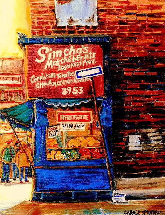 Marche Fruiterie Simcha Montreal Memories Corner Store Depanneur Montreal Patrimonie History   Print by Carole Spandau