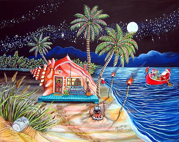 Margaritaville Conch Christmas Print by Abigail White