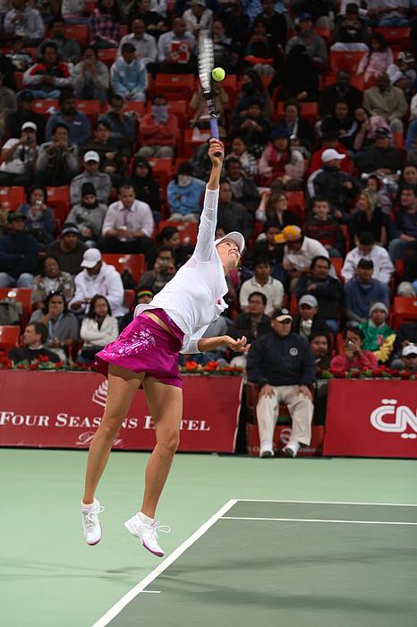 Maria Sharapova Serves In Doha Print by Paul Cowan
