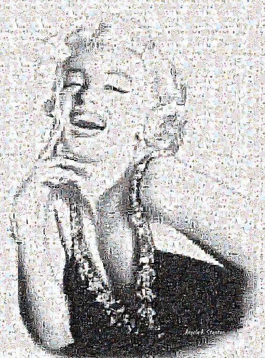 Marilyn Monroe In Mosaic Print by Angela A Stanton