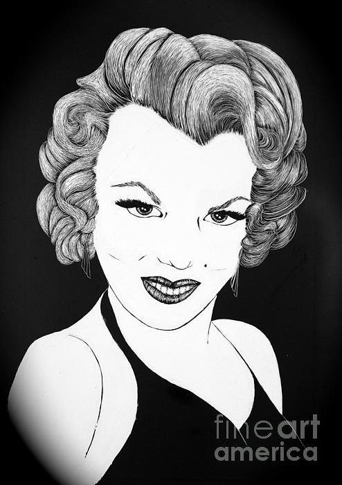 Marilyn Monroe- Scratch Bd Print by Linda Simon