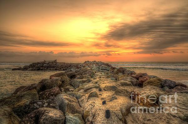 Marina Park Beach Sunset Print by Eddie Yerkish