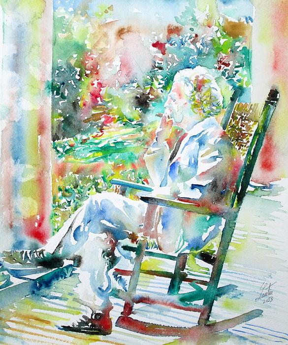Mark Twain Sitting And Smoking A Cigar - Watercolor Portrait Print by Fabrizio Cassetta