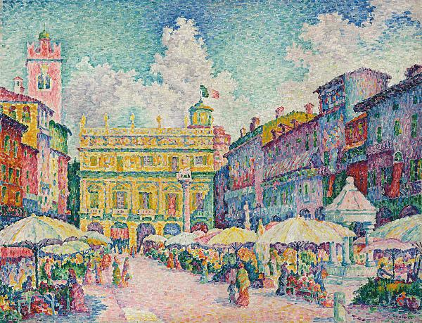 Market Of Verona Print by Paul Signac