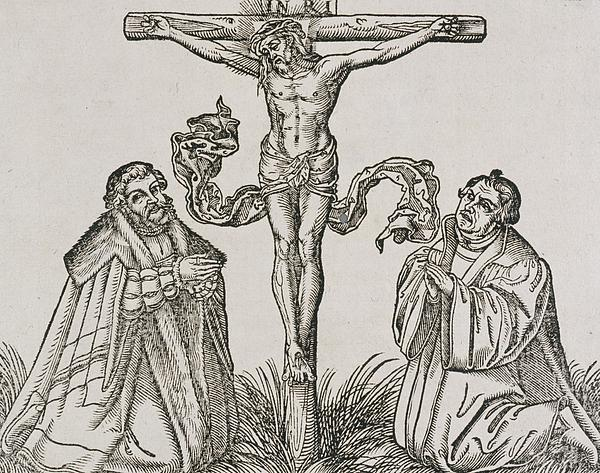 Martin Luther And Frederick IIi Of Saxony Kneeling Before Christ On The Cross Print by German School