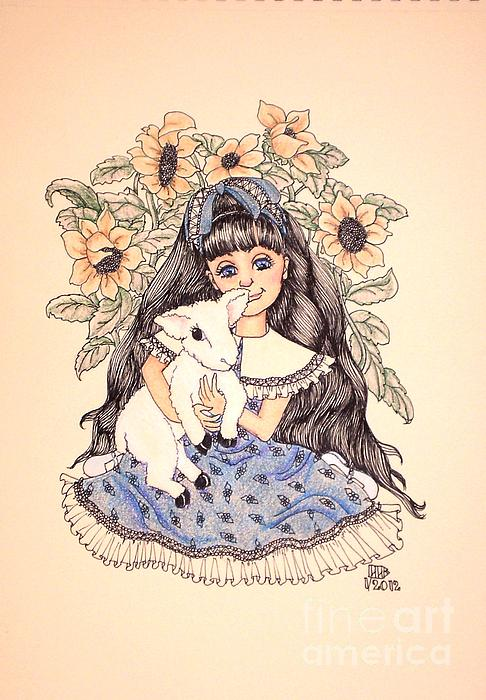 Mary's Lamb Print by Lenora Brown