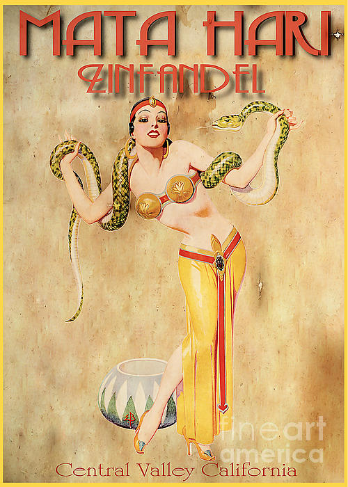 Mata Hari Vintage Wine Ad Print by Cinema Photography