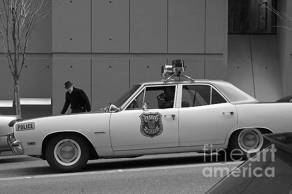 Mayberry Meets Seattle - Vintage Police Cruiser Print by Jane Eleanor Nicholas
