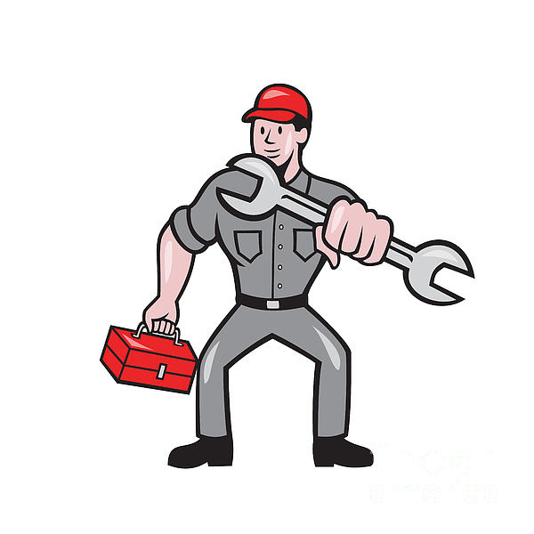 Mechanic Punching With Spanner Cartoon Print by Aloysius Patrimonio