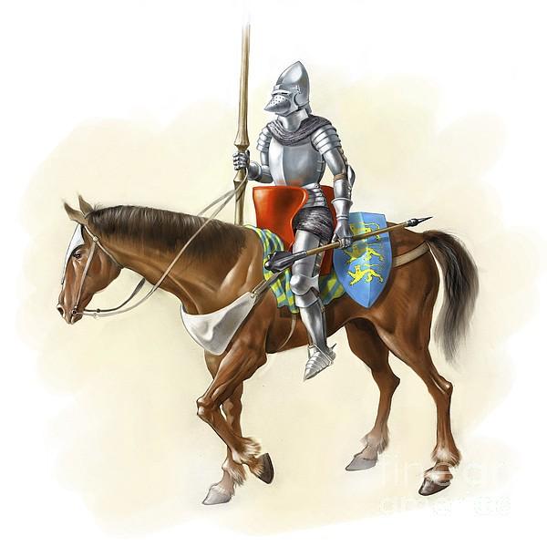 Medieval Knight On Horseback, Artwork by Jose Antonio Pe??as