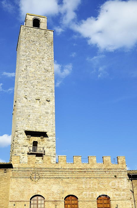 Medieval Tower In San Gimignano Print by Sami Sarkis