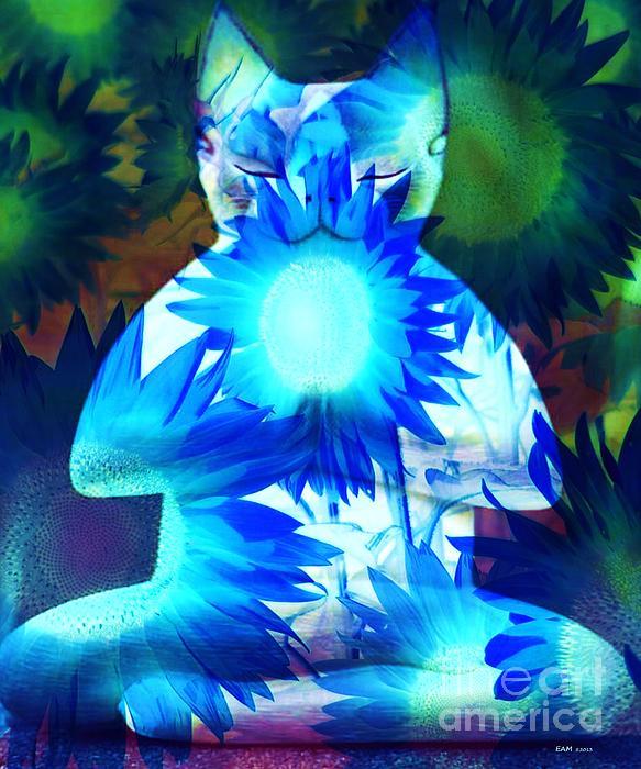 Meditation Kitty / Midnight Meditations On The Blue Sunflower Print by Elizabeth McTaggart