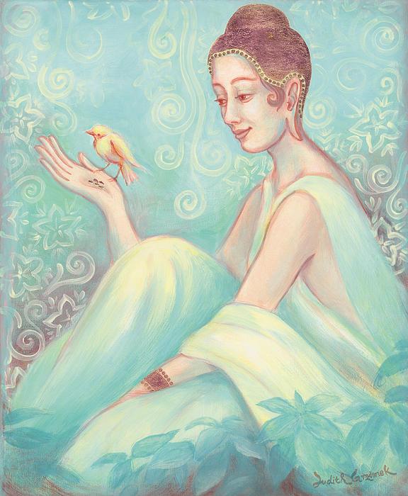 Meditation With Bird Print by Judith Grzimek