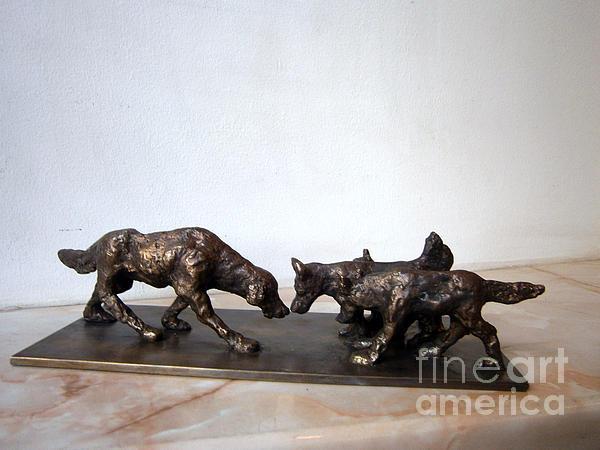 Meeting Of The Dogs Print by Nikola Litchkov