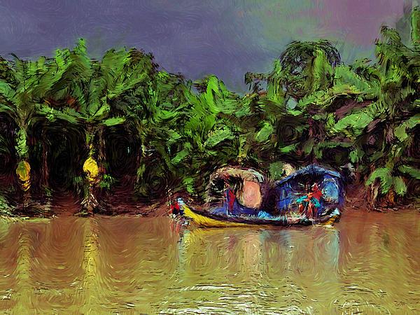 Mekong Fishing Print by Carl Rolfe