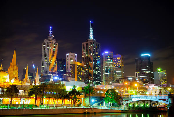 Melbourne City Skyline - Skyscapers And Lights Print by David Hill