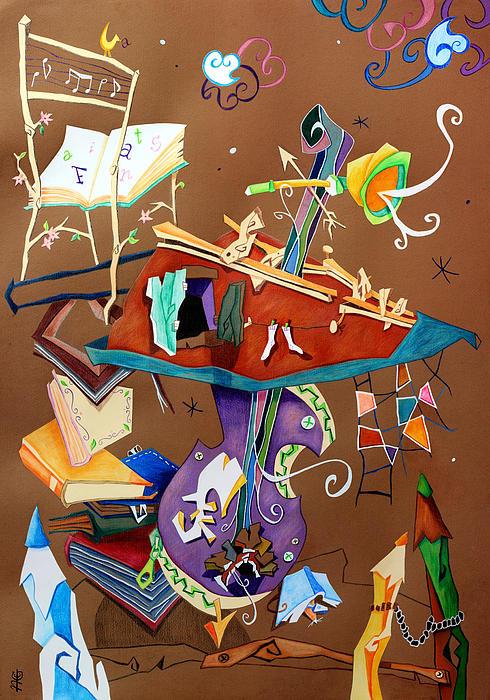 Melodia Del Silenzio - Art Collage - Music Concert For Violoncello Print by Arte Venezia