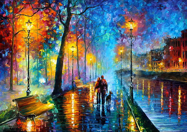 Leonid Afremov - Melody Of The Night - Palette Knife Landscape Oil Painting On Canvas By Leonid Afremov