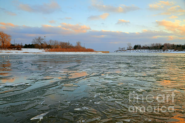 Melting Ice At Dusk Print by Charline Xia