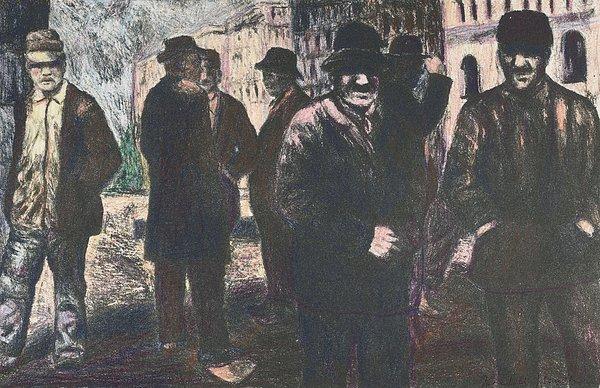 Men In Yellow Light Print by Kendall Kessler