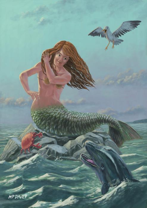 Mermaid On Rock Print by Martin Davey