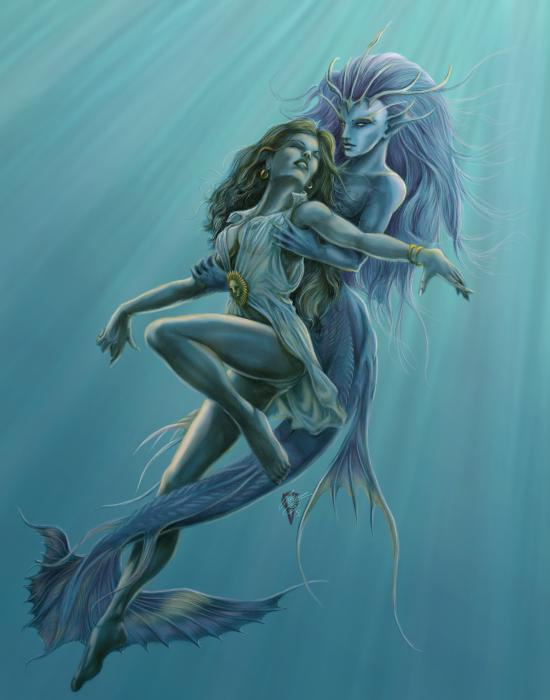 Mermaid Rescue Print by Rob Carlos