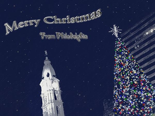 Merry Christmas From Philly Print by Photographic Arts And Design Studio