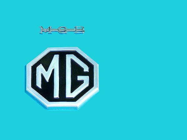 Mgb Emblem On Blue Print by Gill Billington