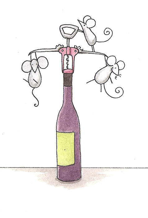 Mice With Wine Print by Christy Beckwith