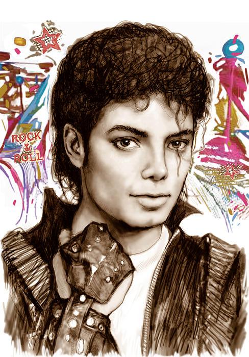 Michael Jackson Colour Drawing Art Poster Print by Kim Wang