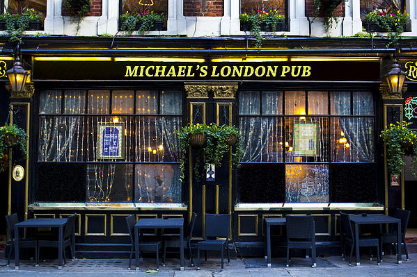 Michael's London Pub Print by David Pyatt