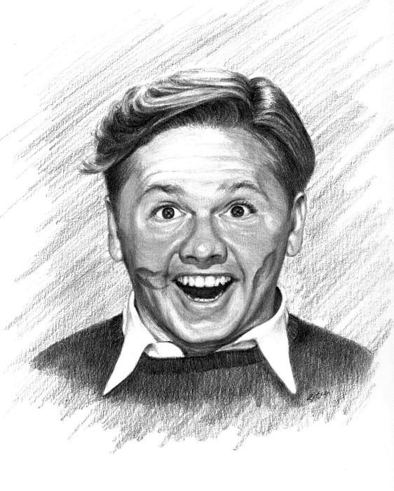 Mickey Rooney Print by Lou Ortiz