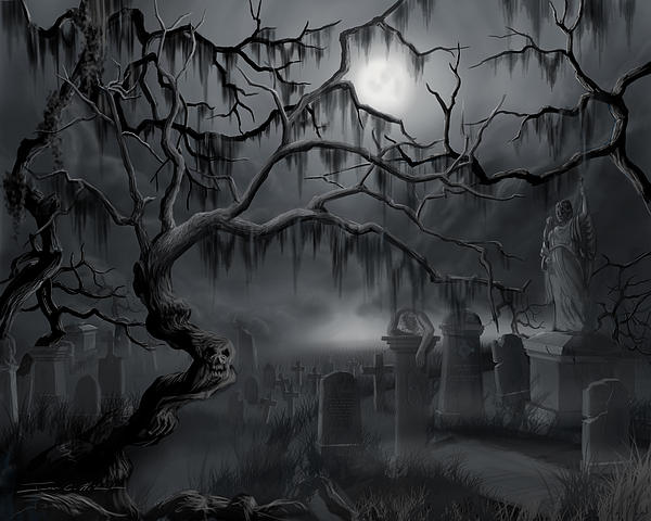 Midnight In The Graveyard Print by James Christopher Hill