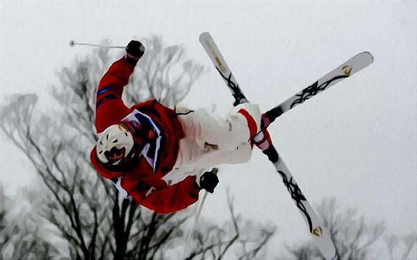 Mikael Kingsbury Skiing Print by Lanjee Chee
