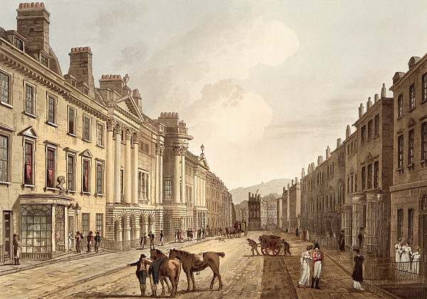 Milsom Street, From Bath Illustrated Print by John Claude Nattes
