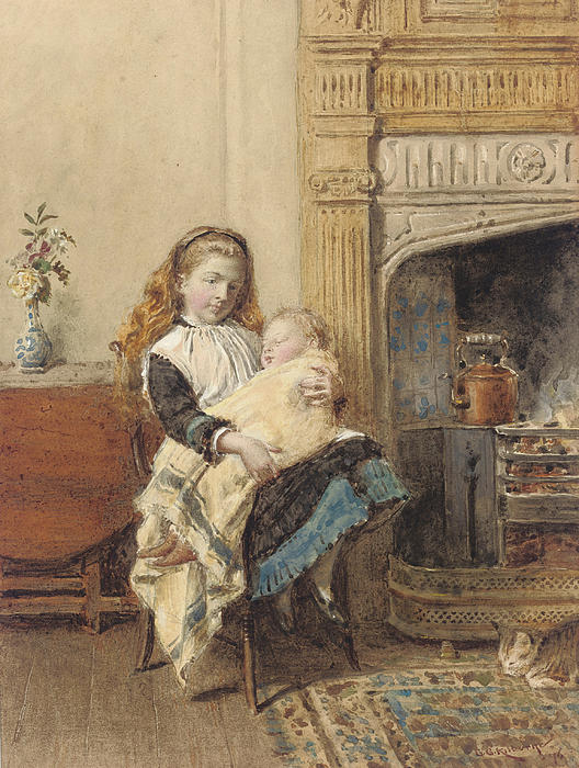 Minding Baby Print by George Goodwin Kilburne