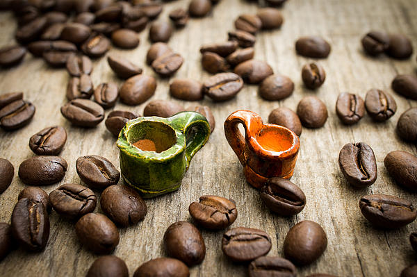 Miniature Coffee Cups Print by Aged Pixel