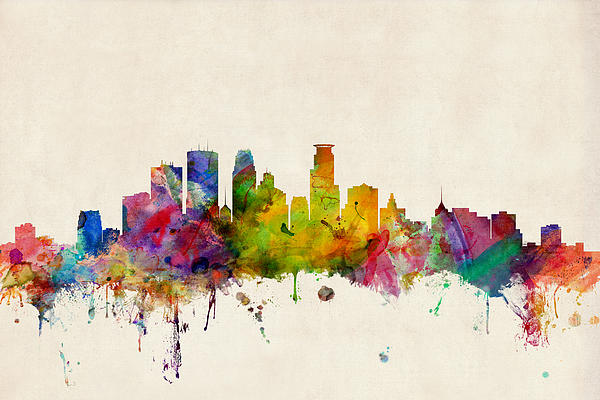 Minneapolis Minnesota Skyline Print by Michael Tompsett