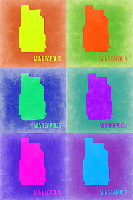 Minneapolis Pop Art Map 3 Print by Naxart Studio