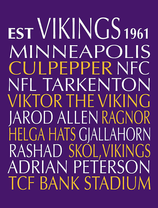 Minnesota Vikings Print by Jaime Friedman