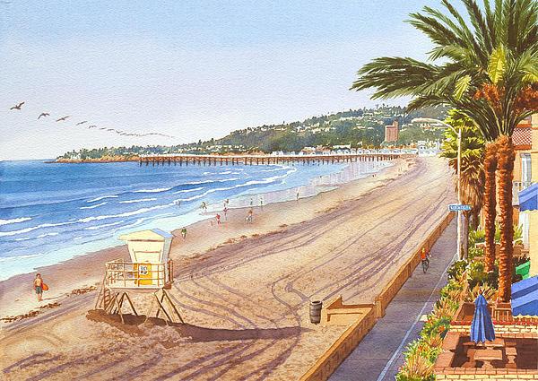 Mission Beach San Diego Print by Mary Helmreich