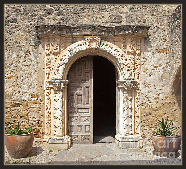 Mission San Jose Chapel Entry Doorway Print by John Stephens