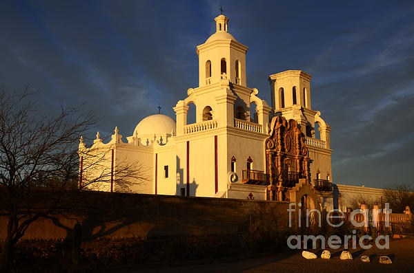 Mission San Xavier Del Bac Last Light Print by Bob Christopher
