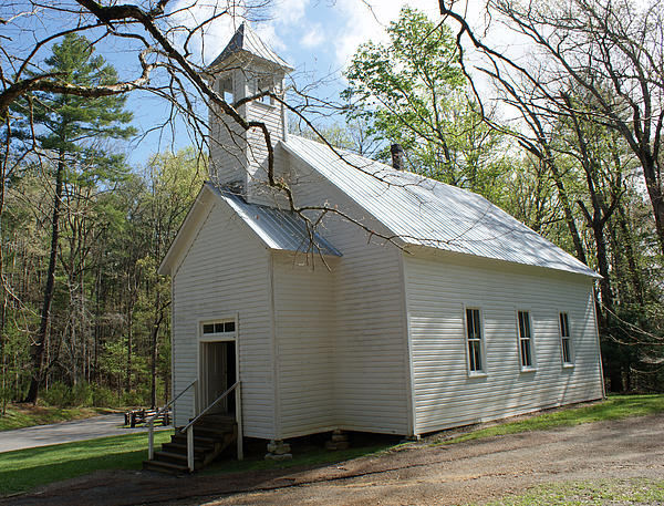 Missionary Baptist Church In Cades Cove Print by Roger Potts