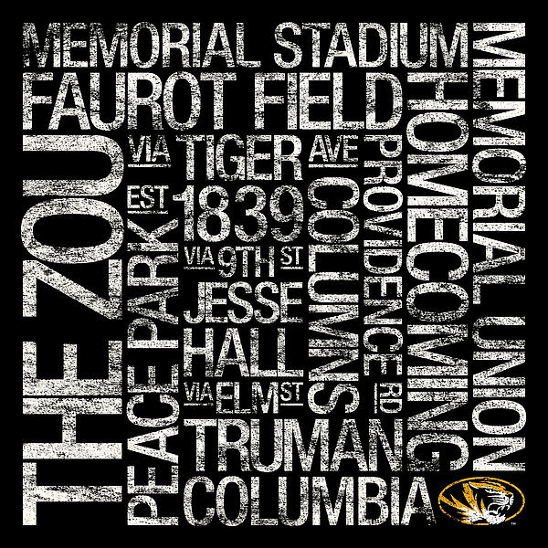Missouri College Colors Subway Art Print by Replay Photos