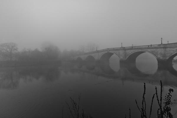 Misty Richmond Bridge Print by Maj Seda