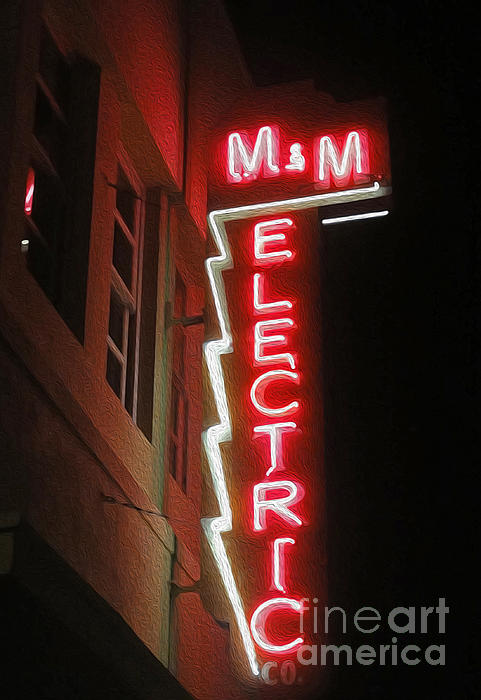 Mm Electric Sign At Night Print by Gregory Dyer