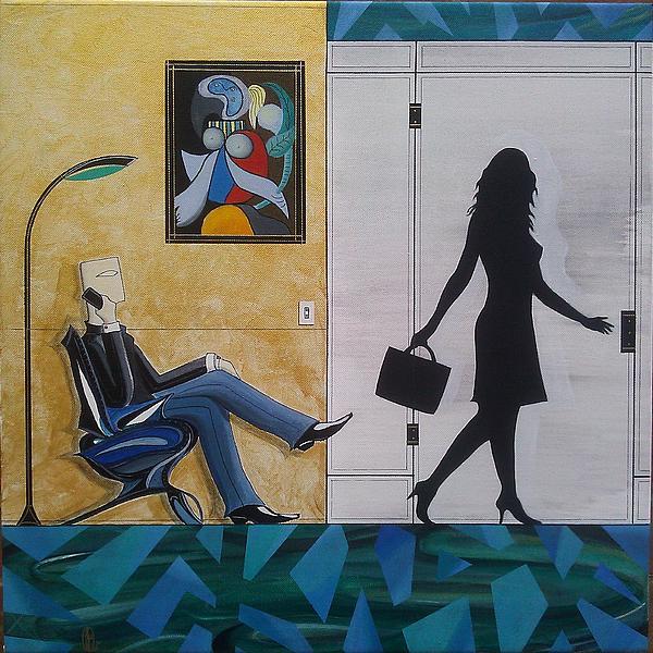 Modern Businessman Sitting In Chair Print by John Lyes